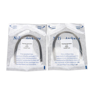 Dental heat-activated nickel-titanium alloy orthodontic filament round wire dental material